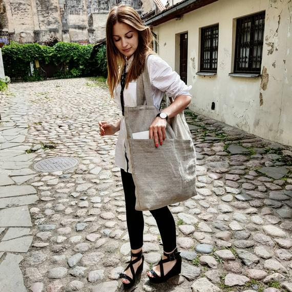 Large ECO Fashion Durable Women Student Cotton Linen Single Shoulder Bag Shopping Tote Flax Canvas Shopping Bags 1