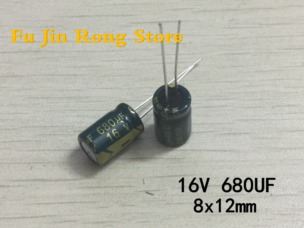 High quality 50 pcs/lot 16V 680UF 8X12mm 680UF 16V Electrolytic capacitor ic image
