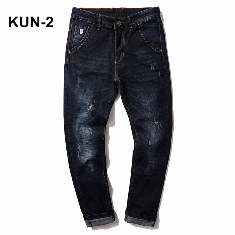 Mens Jeans 2018 Mens Blue Jeans Slim Fit Stretch Denim Casual Quality Pants Business Trousers for Man Boys Jean Homme size