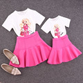 Family clothing sets new 2016 summer catoon girl printing T-shirt + skirt 2 PCS set Mother and daughter set Girls Women clothing