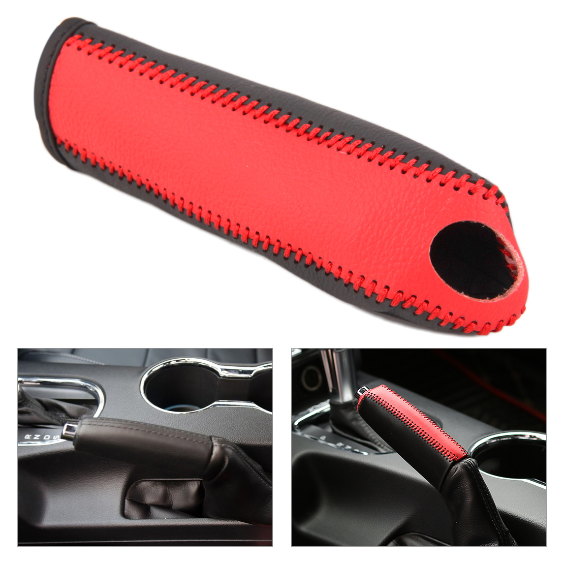 Beler 1Pc Black & Red Anti-slip  Leather Car Auto Handbrake Cover Trim Protective Sleeve Fit For Ford Mustang 2015-2016