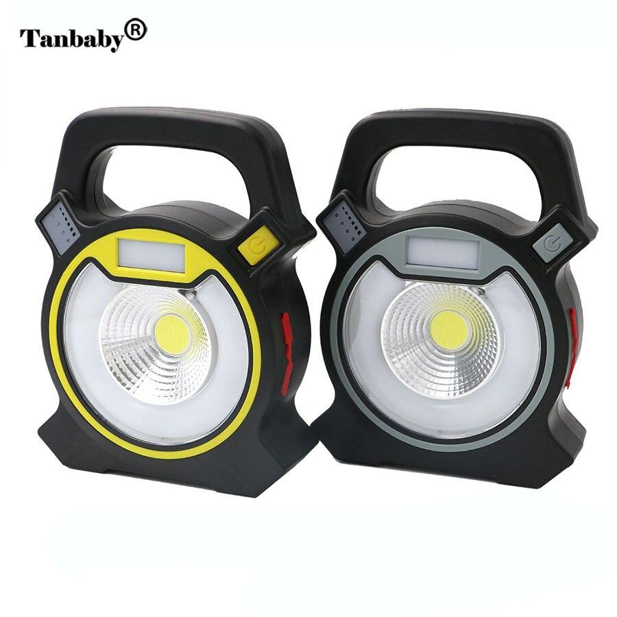 Tanbaby Portable COB LED Flashlight 4 modes 5W COB Working Light USB Rechargable Hanging Camping Lantern Lamp White