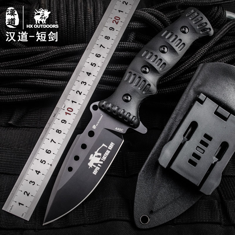HX OUTDOORS Survival knife hunting tools high quality 440c stainless steel straight knives essential tool for self-defense knife knife b338 440c 57hrc tool