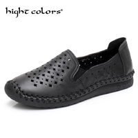 Genuine Leather Handmade Lazy Hole Shoes Slip Soft Bottom Female Casual Shoes Summer Flat Mesh Breathable