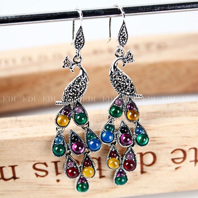 Colorful Precious Stone Long Earings Women Fine Jewelry S925 Phoenix Peacock Feather Bohemian India Ethnic Earring Jewelry