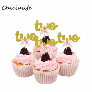 Chicinlife 10Pcs Two Cupcake Toppers 2nd Birthday Party Decoration 2 Cupcake Topper Drink Straw Anniversary Birthday Supplies