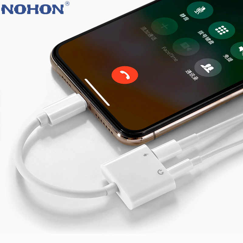 2 in 1 Audio Adapter Opladen Oortelefoon Kabel Voor iPhone X XS Max XR 10 11 Pro 7 8 Plus aux Jack Headset 3.5mm Hoofdtelefoon Splitter