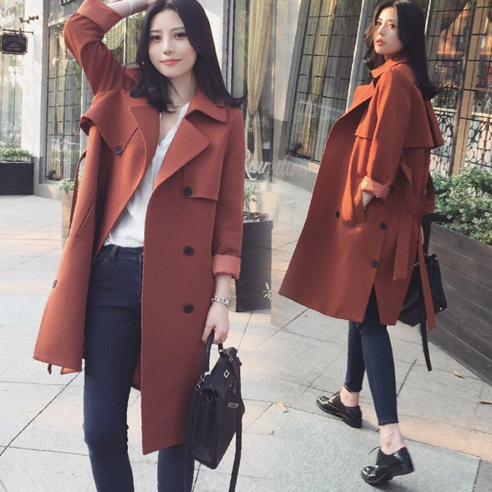 The new 2017 double-breasted with ms accept waist long show thin solid color in the   trench   coat