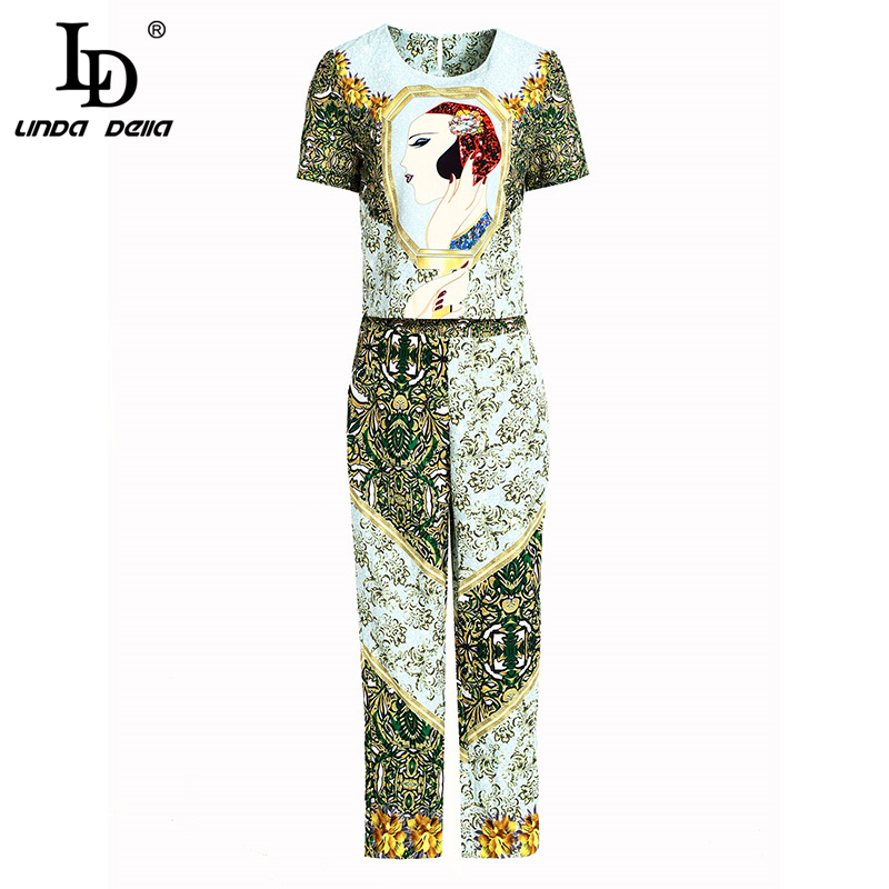 LD LINDA DELLA Summer Fashion Vintage Suits Women's Short Sleeve Beading Tops And Elegant Floral Printed Long Pants 2 Pieces Set