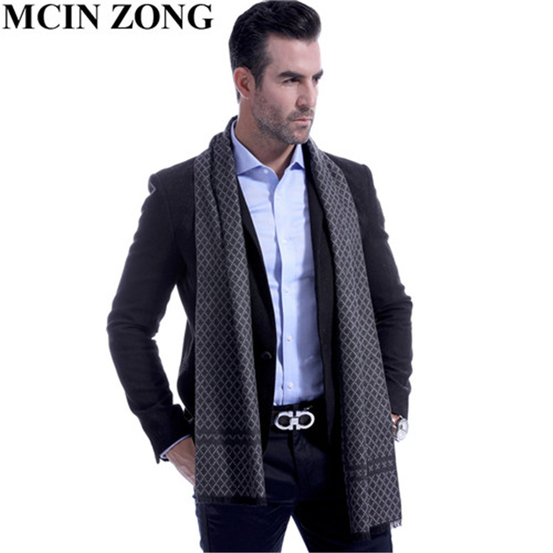 Men   Scarf   Winter Autumn Man   Scarves     Wrap   Shawl Thick Plaid Men's   Scarf   Warm Cotton Cashmere Wool Blended Knit Brushed   Scarf