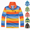 Высочайшее качество мальчики девочки одежда для детей малышей большой мальчик одежда детей длинным рукавом хлопок весна осень полосатый polo shirt