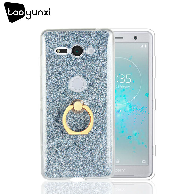 TAOYUNXI Glitter Silicon Glossy Case For Sony Compact XZ2 Cases Sony Xperia XZ2 mini Soft TPU Plain Cover With Finger Ring
