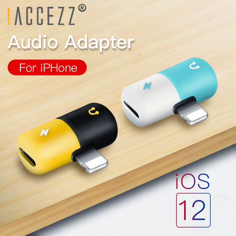 !ACCEZZ Mini Capsule 2 IN 1 Dual Lighting Charging&Listening Cables Connector For Iphone X 8 7 Plus Earphone Audio AUX Splitter