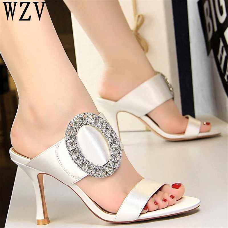 2019 Spring New crystal High Heels Fashion Women's Shoes European American Sexy High Heels sandals open toe Shoes woman C499