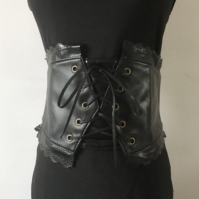 Cinturón ultra ancho para mujer cinturón de cuero sintético negro corsé cinturón diseño retro cinturón de cintura con lazo frontal con encaje