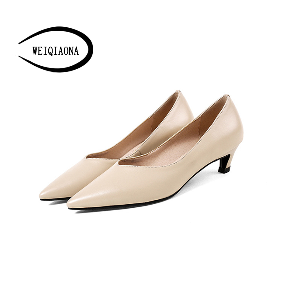 WEIQIAONA new low heel shoes women Genuine leather shallow Fashion pumps v-mouth pointed kitten heel Dress shoes Party shoes burgundy gray saphire blue pink women dress party career work shoes flock shallow mouth stiletto thin high heel pumps