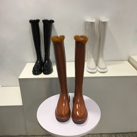 Woman Boots Back Zipper Knee High Boots Short Plush Long Booties Warm Winter Brand Woman Shoes Patent Leather Chaussures Femmes