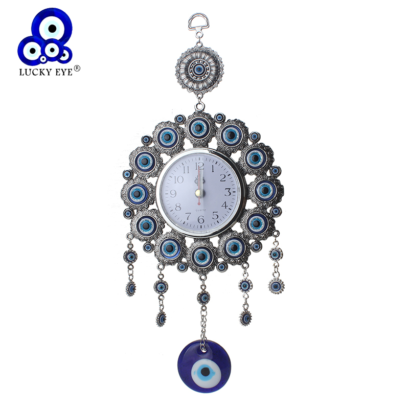 Elephont turco Evil Eye Hanging Wall Metal Glass Charm Colgante Amuleto Nazar Home Watch Decoración Office Protector Ornament
