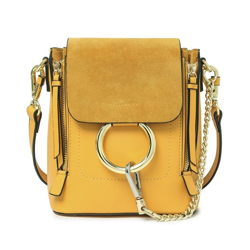 2017 дамы круг кольцо цепи двойной молнией нубук мини рюкзак однотонные винтажные дизайнерские Брендовые женские небольшой рюкзак