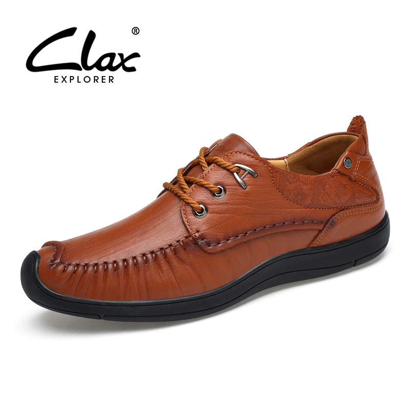 CLAX Men's Leather Shoes Spring Autumn Shoe Genuine Leather Male Casual Footwear Handmade Retro Vintage Shoe Classic Leisure 2017 men genuine leather boat shoes male british style retro flat shoe fashion leisure handmade sapato masculino d30