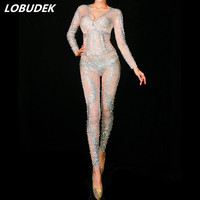 Perspective Mesh Sparkly Rhinestones Jumpsuit Stretch Bling Crystals Jumpsuit Birthday Party Outfit Singer Performance Costumes