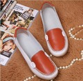 Summer style leather perforated hollow out sandals shoes single shoes doug loafer leather casual shoes with flat sole