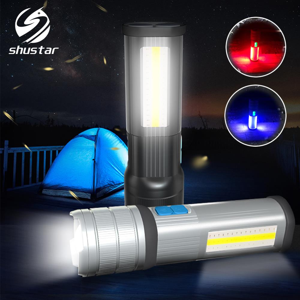 High-End LED Flashlight COB Camping Light Mobile Power Double Side Light Rechargeable Super Bright Torch Tail With Magnet