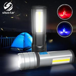 Image 1 - High End LED Flashlight COB Camping light Mobile power Double side light Rechargeable Super bright Torch Tail with magnet