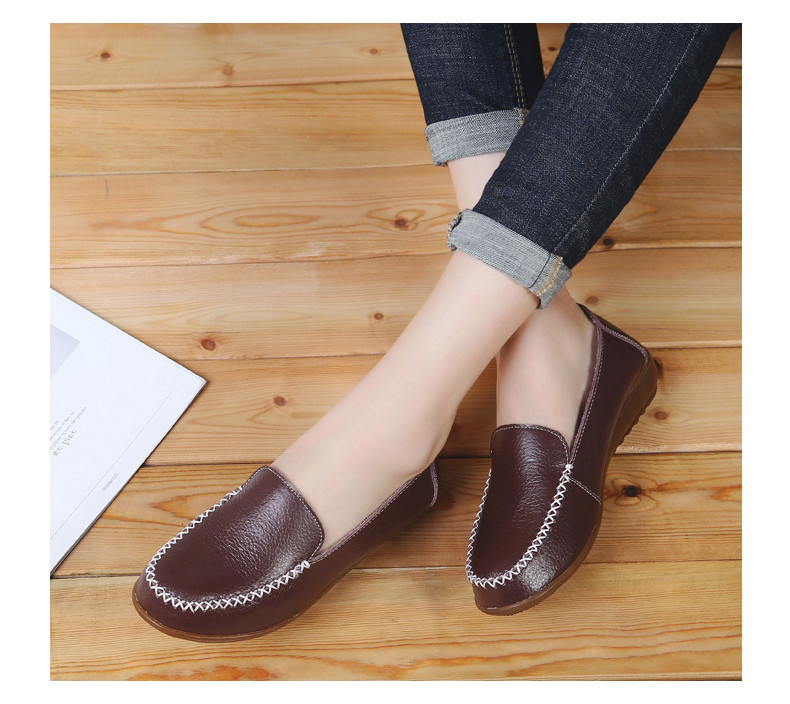 XY 518-2019 Genuine Leather Women's Shoes Soft Woman Loafers-12