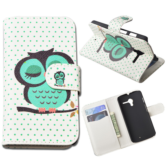 Printing Leather Cover For Motorola Moto X XT1058 XT1056 XT1055 Wallet Case With Stand and Card Holder 10 Colors in Stock