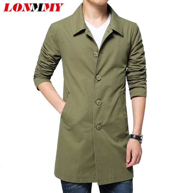 LONMMY 2016 Winter autumn Mens overcoat Trench coat men Cotton Windbreaker Long styles Casual Lapel collar mens trench coat