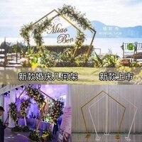 wedding flower wall frame geometry stand metal background flower arch door wedding decoration