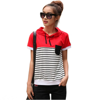 Casual Style Women T Shirt Short Sleeved Hooded Design Cotton Large Size T Shirts Summer Tops