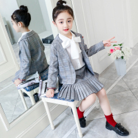 Foreign Style Children's Suit Spring Fall New Girls Casual Plaid Suits 4 13 Yrs Old Kids V Neck Jacket + Pants 2 Pcs Set X443