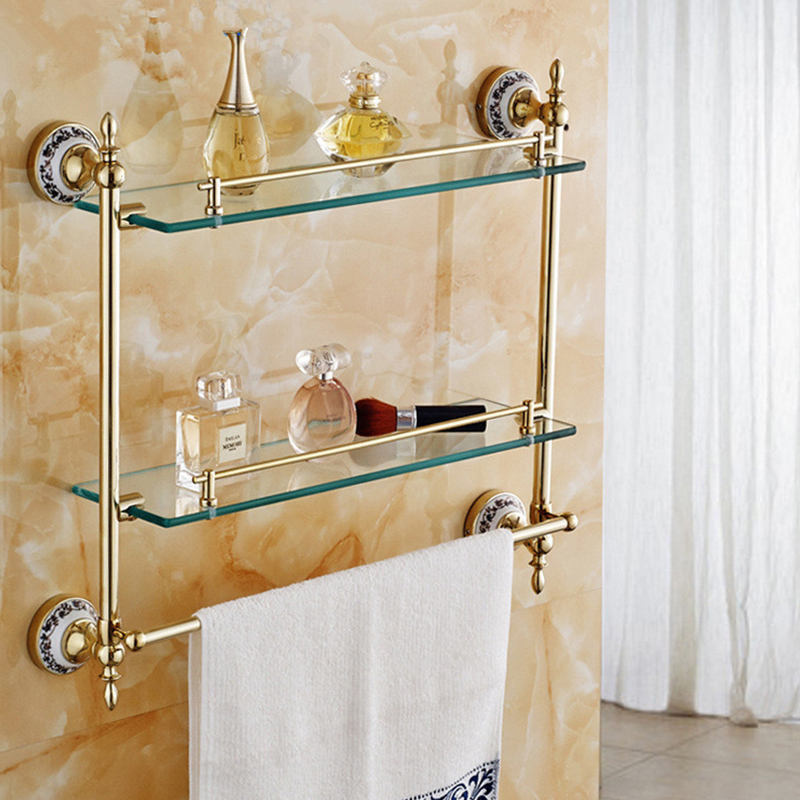Modern Triple Tiers Bathroom Shelves Golden Brass Blue White Porcelain Wall Mounted Shower Storage Towel Bar Bath Hanger 6316B wall mounted golden crystal bathroom accessories crystal bathroom shelves of blue and white porcelain racks