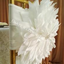 YHC#158 элегантная задняя крышка на стул из тафты ручной работы с цветком Кьявари для банкета, свадебных мероприятий