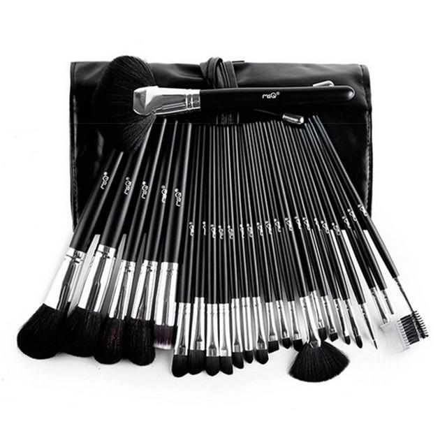 Nuevo Caliente! 25 Unids Maquillaje sistema de Cepillo Cosmético Profesional Polivalente Cepillo Oval Powder Foundation Brush Kits con PU Bolsa De Cuero