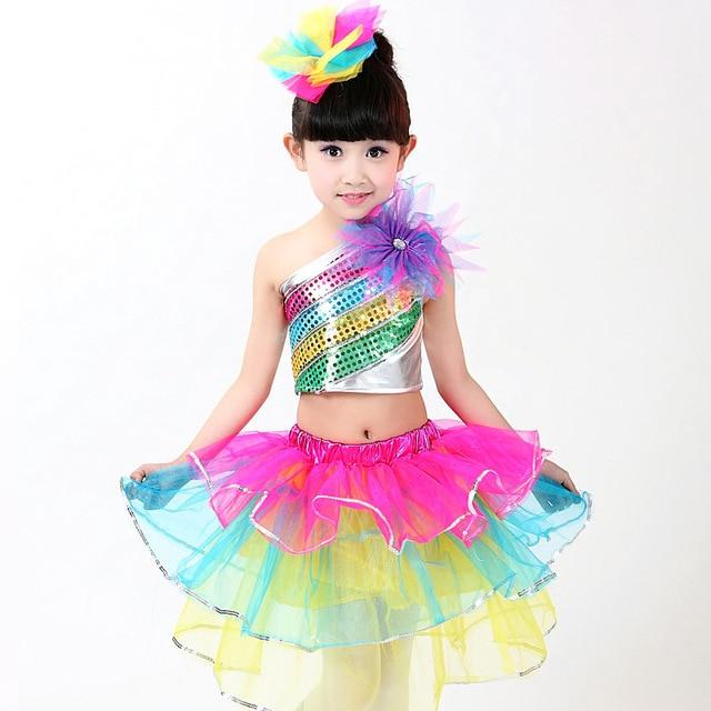 Children Colorful Layered Skirt Sets Big Flower Sequin Jazz Dance Costume Fashion Latin Waltz Dancing Skirt Stage Show Skirt
