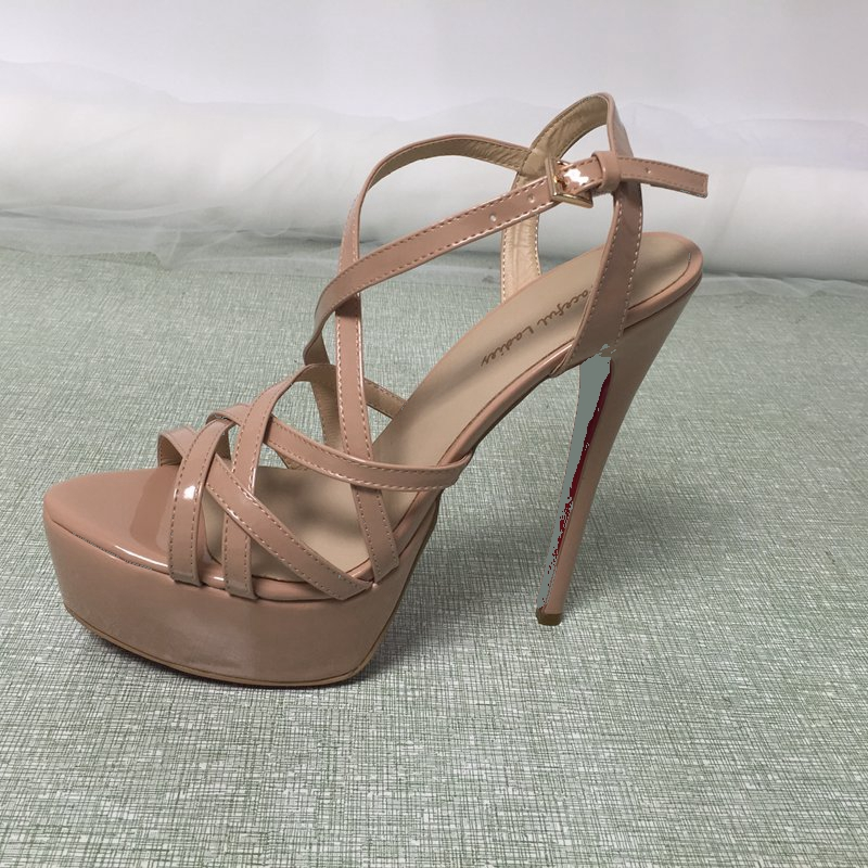 Nude Cross Strap Women Sandals High Heels Platform Stilettos Cross Strap Shoes Model For Women Ladies High Heel Sexy Lady Shoes women high heel sandals cross strap hollow gladiator shoes women trifle heels sansals high platform woman footwear size 34 39