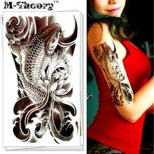 M-theoryTemporary Tattoos Body Arts Black Carp Flash Tatoos Stickers 12x20cm Henna Fake Tatto Swimsuit Bikini Makeup