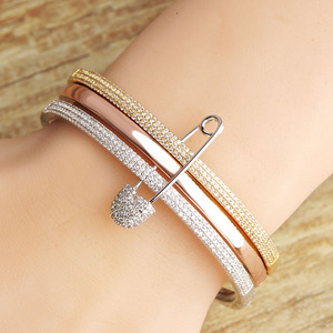 Image 5 - MECHOSEN Unique Design 3 Round With Pins Bangles For Women White Rose Gold Color Love Cuff Bracelet Copper Pulseira Feminina