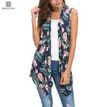 Women's Sleeveless Draped Open Front Cardigan Vest Asymmetric Hem недорого