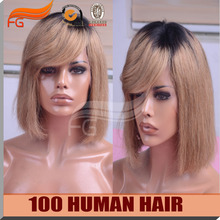 100 Top Selling Side Part Short Bob Wig With Bangs Ombre Color Short Human Hair Wigs