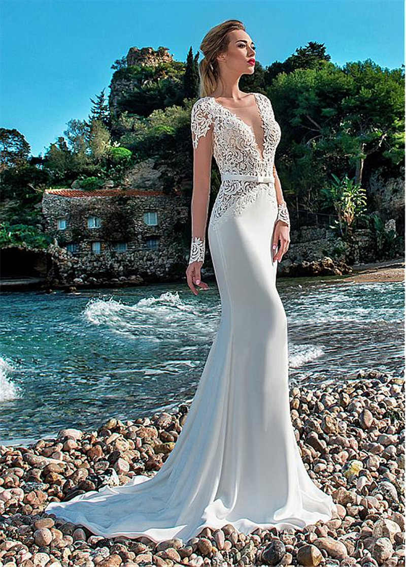 LORIE Sexy Mermaid Wedding Dress Long Sleeves Lace Appliqued Illusion Back Boho Wedding Gown Long Train Bride Dress