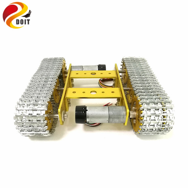 DOIT All Metal Tracked Robot Smart Car Platform Aluminum Alloy Chassis with Dual DC 9V Motor for DIY Arduino Robot Project