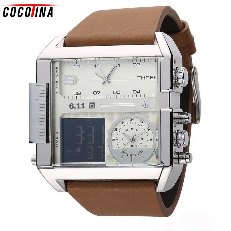 Cocotina Luminous Square Men Watch Multiple Time Zone Quartz Watches Mens Leather LED Wristwatch Waterproof Relogio Masculino weide new men quartz casual watch army military sports watch waterproof back light men watches alarm clock multiple time zone