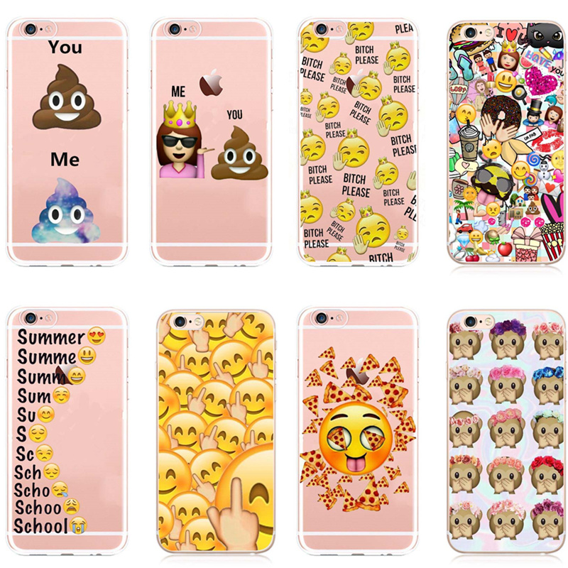 Funny Clear Smily Faces Emoticon Emoji Case Cover for coque iphone 7 6 6S Plus 5 5SE Phone Cases Expression Transparent case