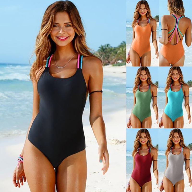 Bathing Suit Women One Piece Swimsuit Solid Push Up Swimwear Large Size Thong Bikini Black Blue Maio Monokini Swimming Suit 2019-0