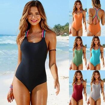 Bathing Suit Women One Piece Swimsuit Solid Push Up Swimwear Large Size Thong Bikini Black Blue Maio Monokini Swimming Suit 2019