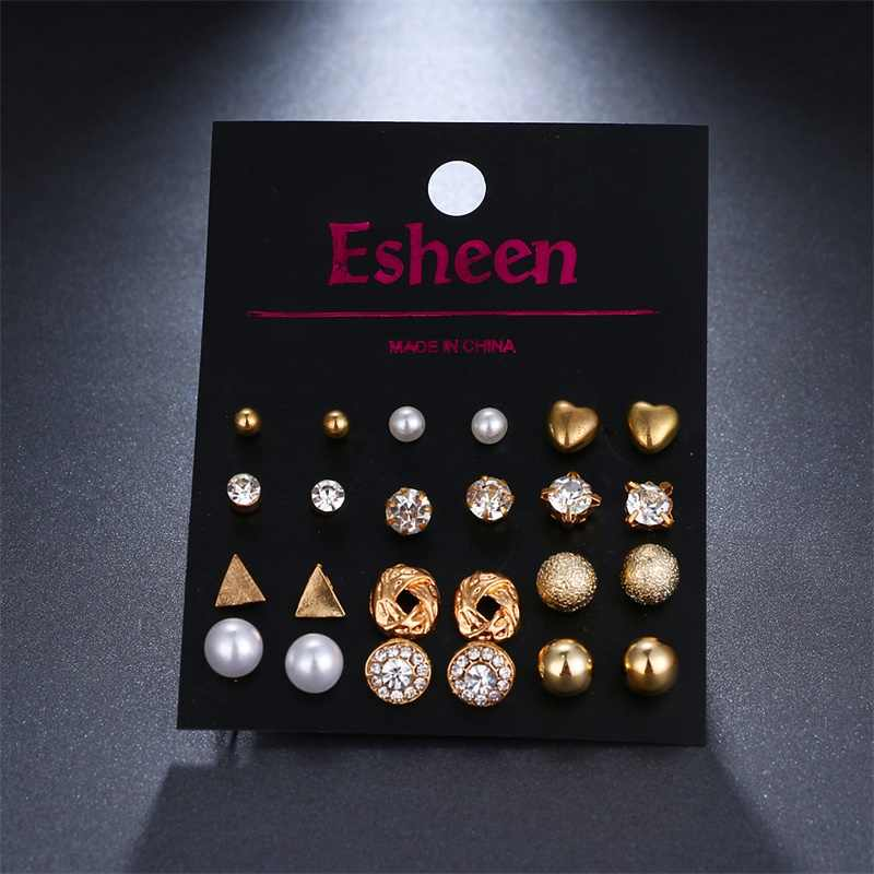 12 pairs /set crystal square heart-shaped earrings female models perforated simulation pearl flower earrings statement girl gift